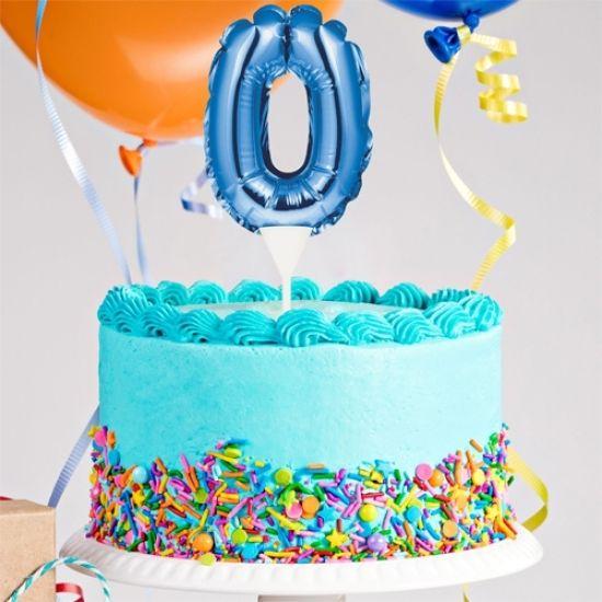 Kuchenpicker Folienballon Zahl 0 in Blau, 22 cm klein, selbstaufblasend, 1 Stück