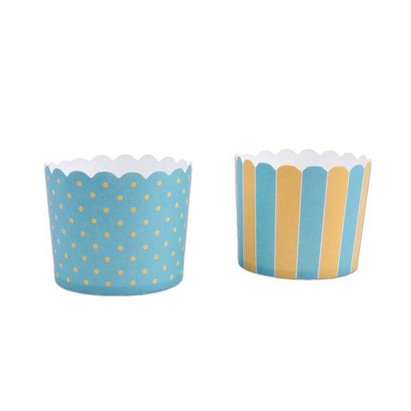 Muffinfoermchen-Punkte-und-Streifen-blau-gelb