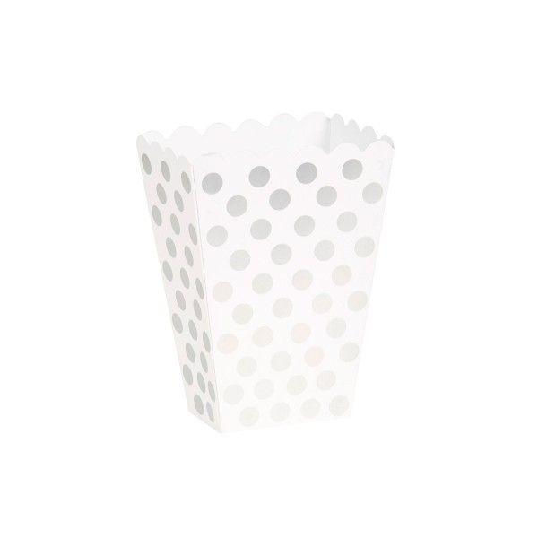 Popcorntüten Punkte, silber/weiß, 8 Stück