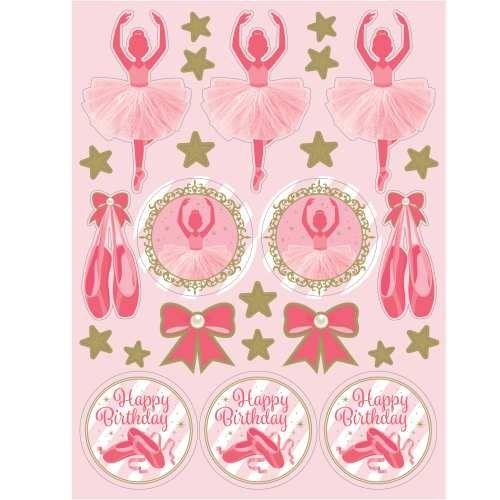 Sticker bezaubernde Ballerina, 4 Bögen