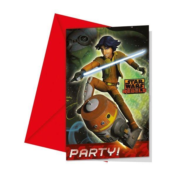 Einladungen mit Umschlag  Star Wars Rebels, 6 St