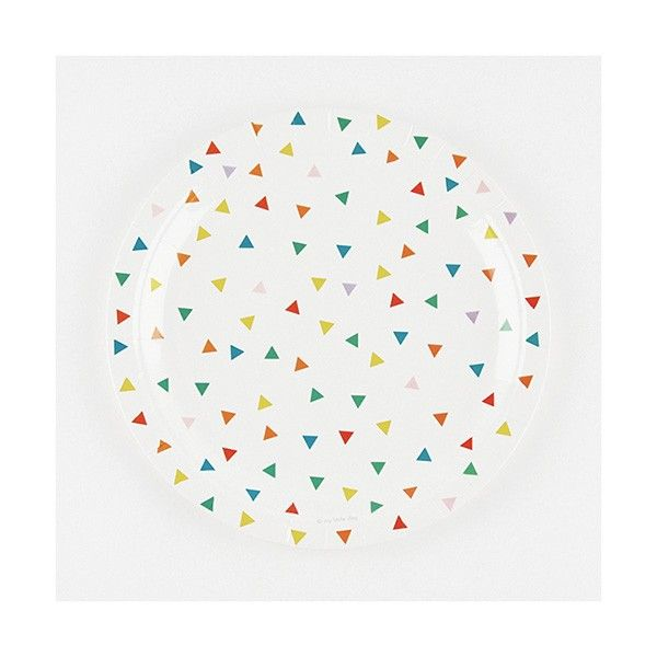 Pappteller-bunte-Dreiecke-23cm-8-Stueck-neu