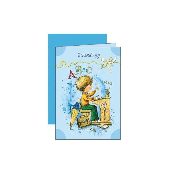 Einladungskarten-mit-Umschlag-Einschulung-blau-5-Stueck