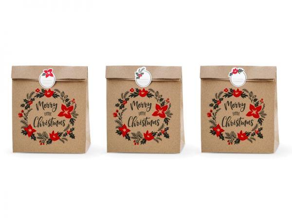 Tüten Weihnachten, Geschenktüte Merry little Christmas, 3 Stück groß mit Sticker