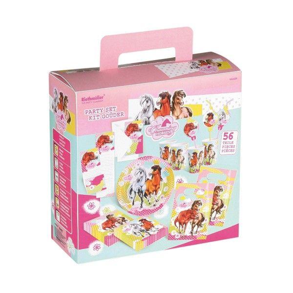 Partykoffer Pferde für 6 Kinder, 56-teilig