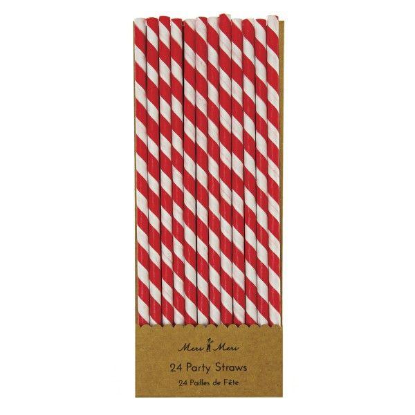Strohhalme gestreift rot/weiß, 24 Stück