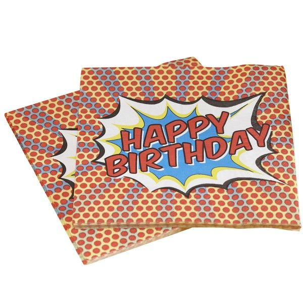 Servietten Pop Art Superhelden Happy Birthday , 20 St