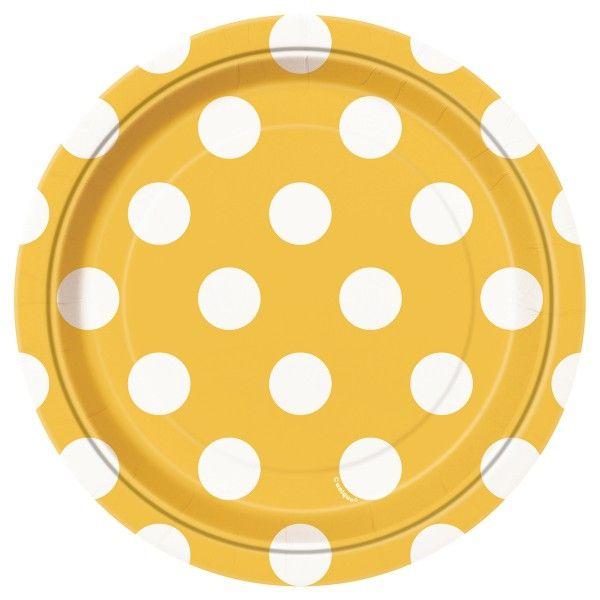 Pappteller Punkte, gelb,  18cm, 8 St