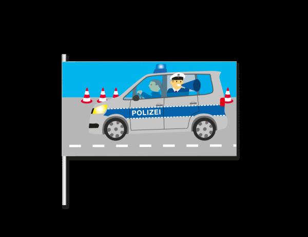 Papierflaggen Polizei, 8 Stück