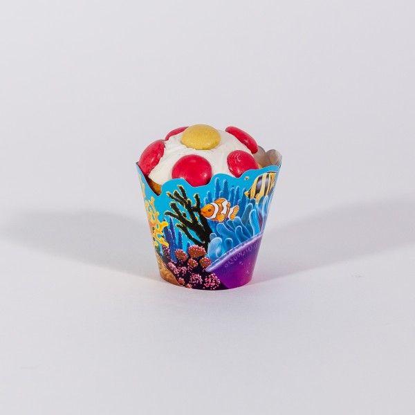 Deko-Banderolen für Muffins und Muffinpicker Unterwasserwelt, 24-teilig X X