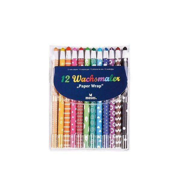"""Wachsmalstifte """"Paper Wrap"""", Set mit 12 Farben"""