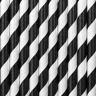 Strohhalme aus Papier, schwarz-weiß, 10 Stück