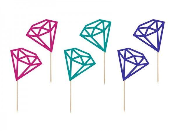 Cupcake Topper Diamanten, 6 Stück