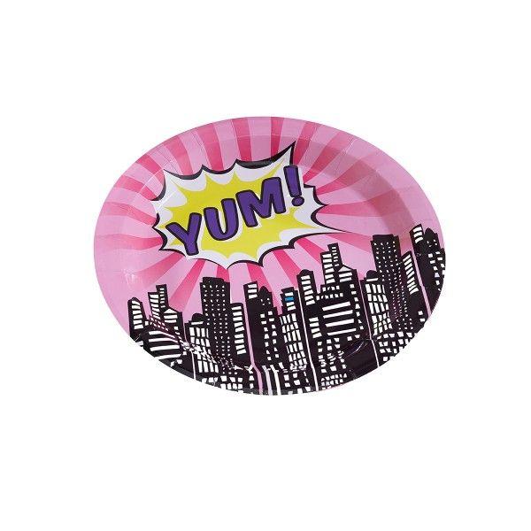 Pappteller Superhelden pink, ø 23cm, 8 Stück