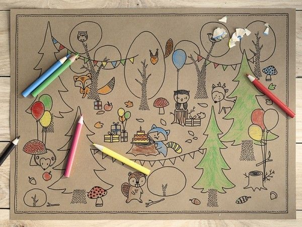 Ausmalbilder Woodland (Wald) mit Buntstiften, 6 Stück plus 6 Buntstifte X