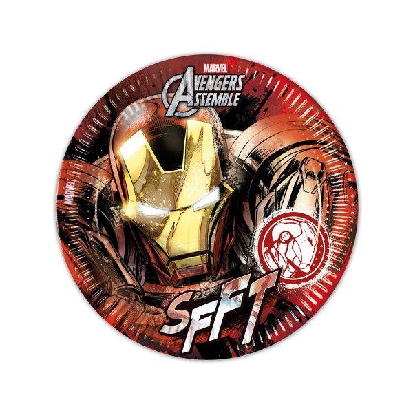 T1142328-Pappteller-Avengers-Teen-Iron-Man-23cm-8-Stueck