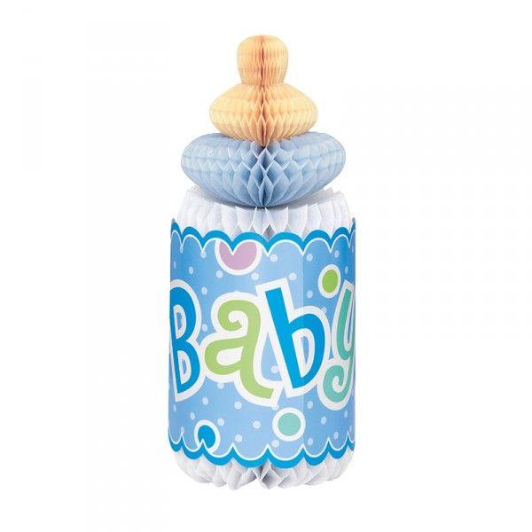 Tischdeko Babyshower Trinkflasche, Blau