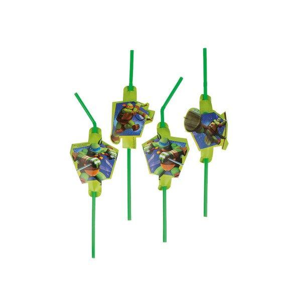 Strohhalme Ninja Turtles, 8 Stück