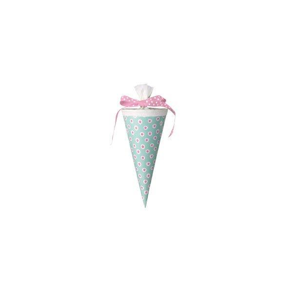 Schultüte Tupfer, türkis-pink, 15cm