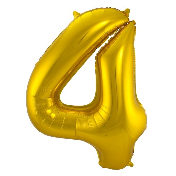 XL Folienballon Zahl 4 in Gold, 86 cm, 1 Stück, Helium Ballon (unbefüllt)