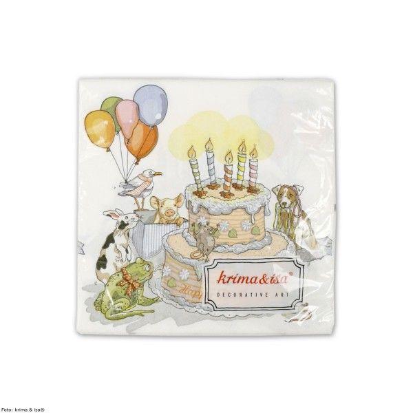 Servietten Geburtstagstorte, 20 St