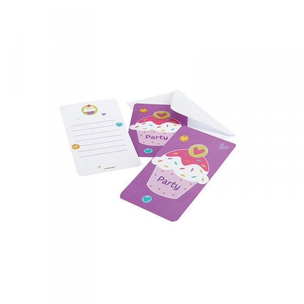Einladungskarten Cupcakes, 6 Stück
