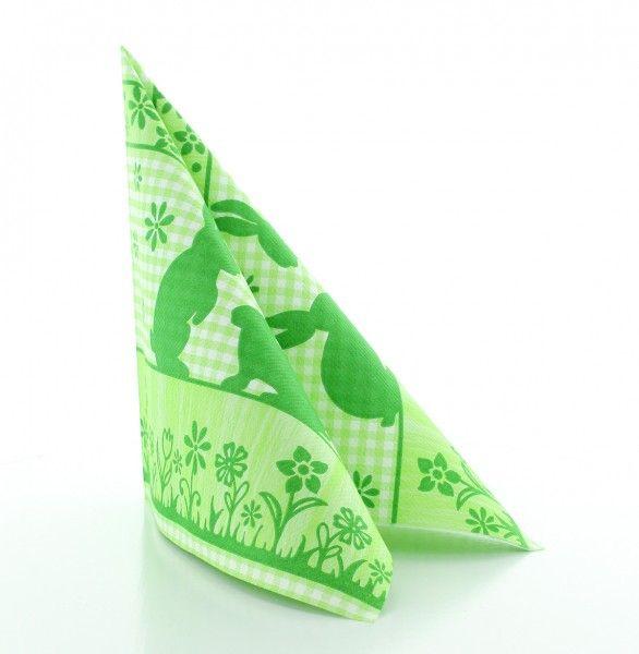 Servietten Joni Rabbits in Grün aus Linclass® Airlaid 40 x 40 cm, 50 Stück
