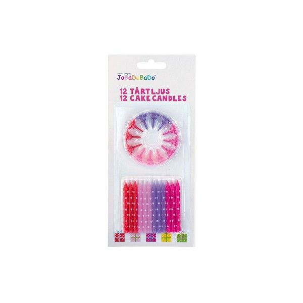 Kuchenkerzen mit Kerzenhalter, pink, 12 St