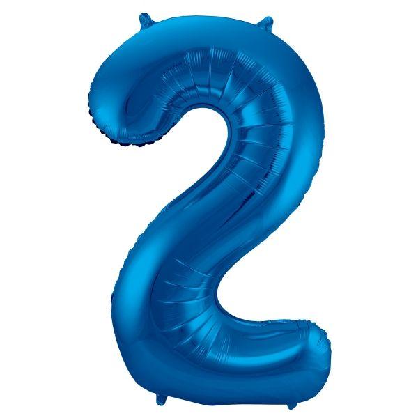 XL Folienballon Zahl 2 in Blau, 86 cm, 1 Stück, Helium Ballon (unbefüllt)