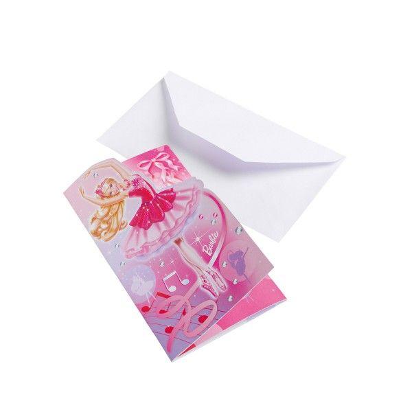 Einladungkarten mit Umschlag Barbie, 6 St
