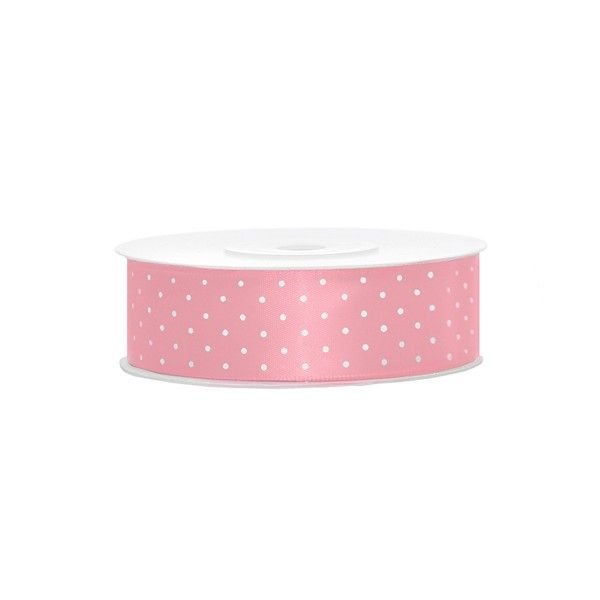 Satinband rosa mit weißen Punkten, 1 Rolle