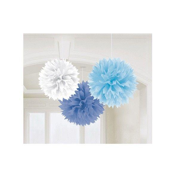 Pompons in Blau, Weiß, Hellblau, 3 Stück