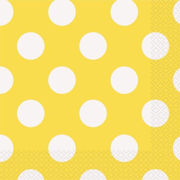 Servietten Punkte, gelb, 16 St