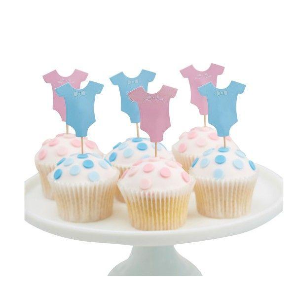 Muffinpicker Babyshower, hellblau/rosa, 12 Stück
