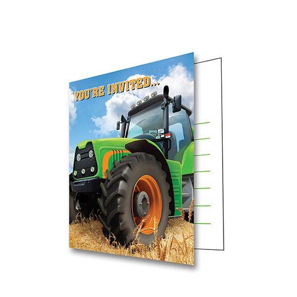 Einladungen Traktor, 8 Stück