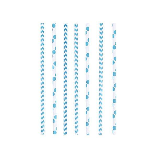 Strohhalme Punkte und Chevron, blau, 24 Stück