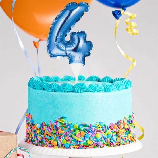 Kuchenpicker Folienballon Zahl 4 in Blau, 22 cm klein, selbstaufblasend, 1 Stück