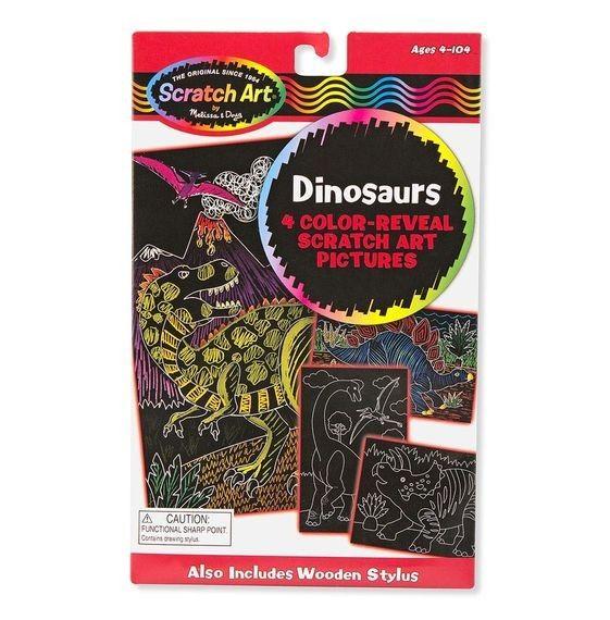 Kratzbilder Dinosaurier, 4 Stück