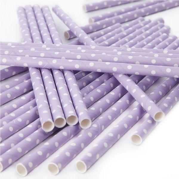 Strohhalme mit weißen Punkten, lila, 25 Stück