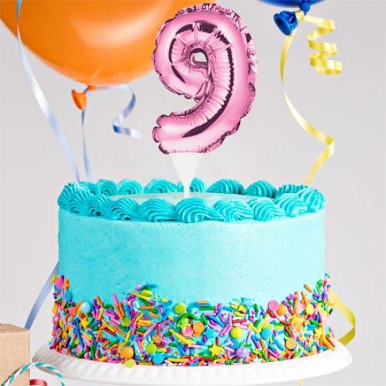 Kuchenpicker Folienballon Zahl 9 in Pink, 22 cm klein, selbstaufblasend, 1 Stück