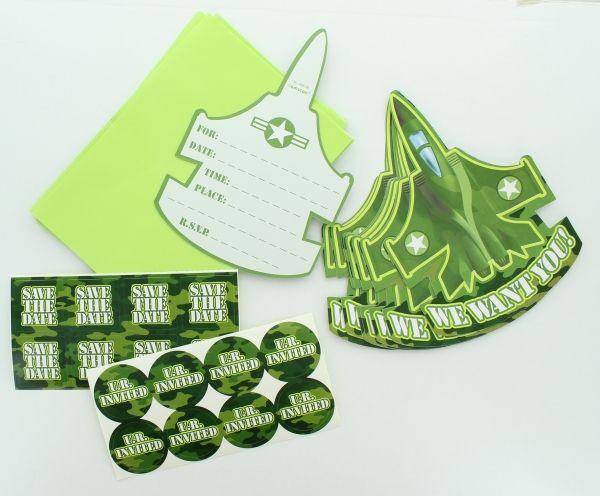 Camouflage Einladungskarten mit Umschlag und Sticker, 8 Stück