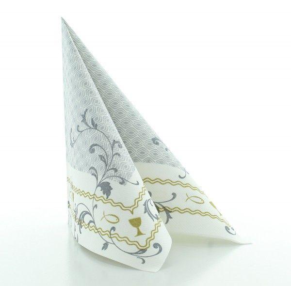 Servietten Taufe in Silber-Gold aus Linclass® Airlaid 40 x 40 cm, 50 Stück