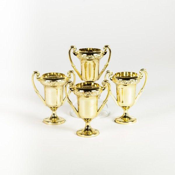 Mini Fussball Pokale, 4 Stück