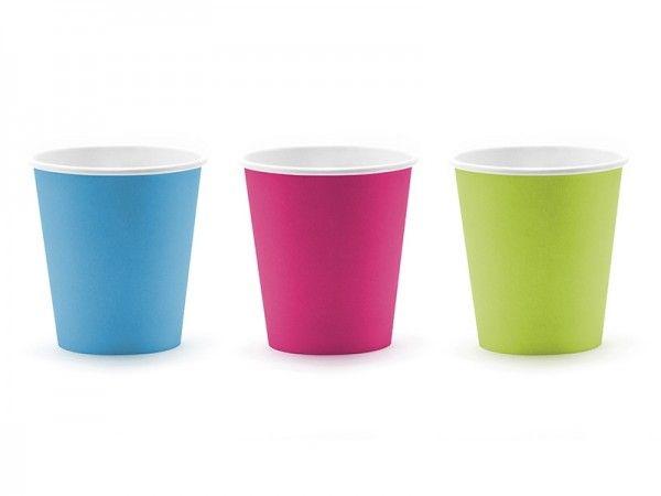 Pappbecher Monster, pink, grün und blau, 200 ml, 6 Stück X