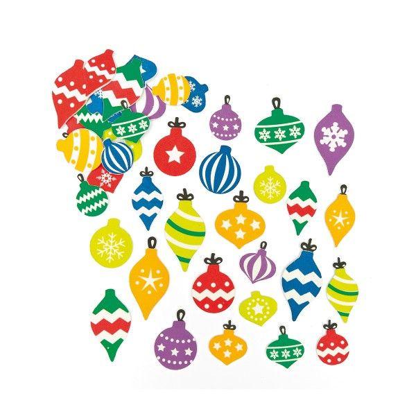 Moosgummi-Aufkleber Weihnachtskugeln, 120 Stück