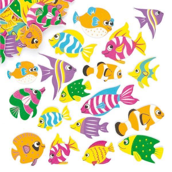 Moosgummi-Aufkleber Tropische Fische, 100 Stück