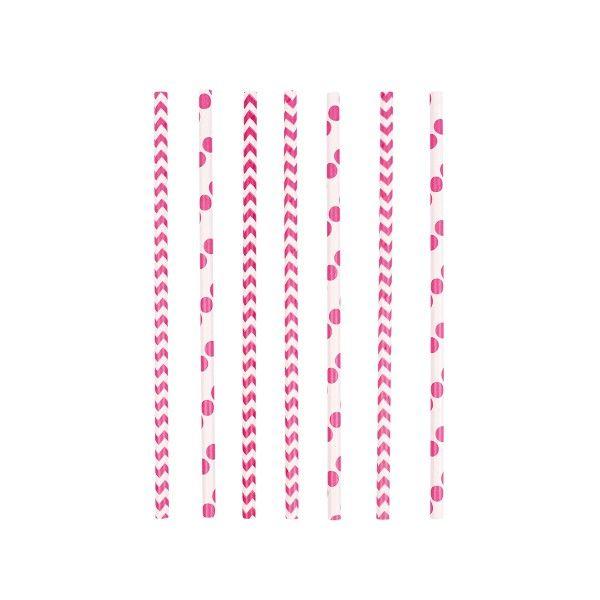 Strohhalme Punkte und Chevron, pink, 24 Stück