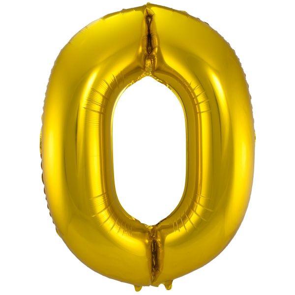 XL Folienballon Zahl 0 in Gold, 86 cm, 1 Stück, Helium Ballon (unbefüllt)