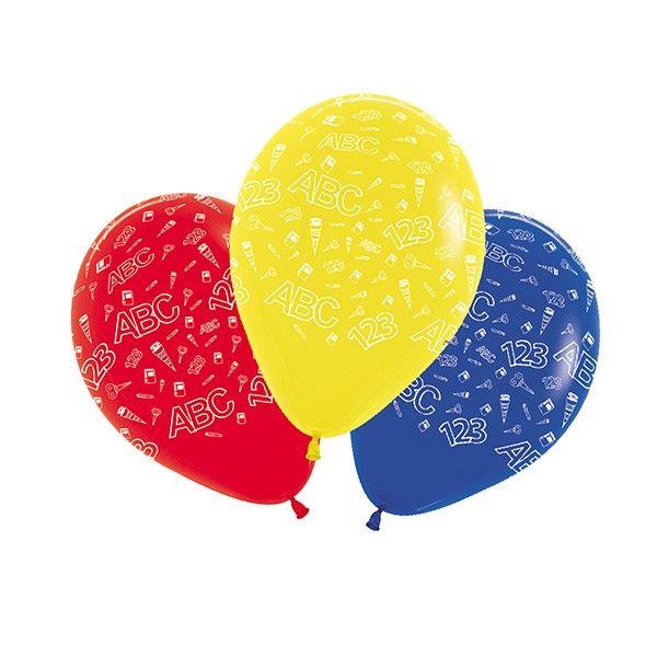 Luftballons Schulanfang bunt, ø 30cm, 5 Stück