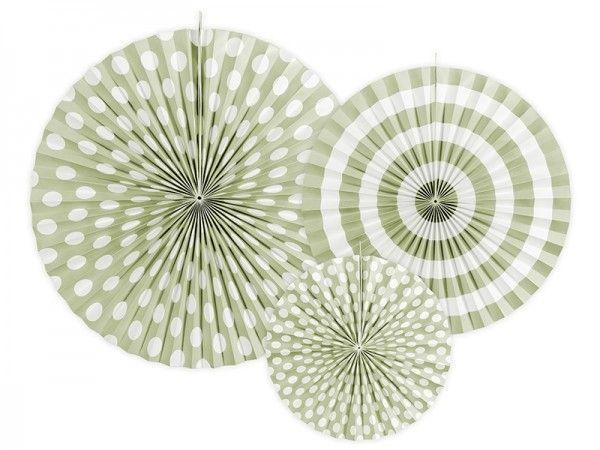 Rosetten-Girlanden, Grün Pastell, 3 Stück, 40, 32 und 23 cm Ø